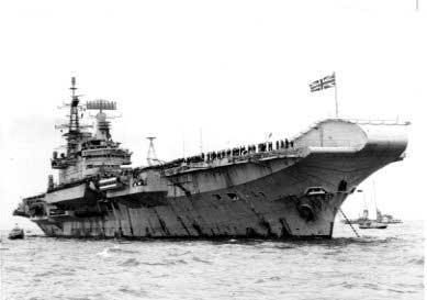 HMS Hermes returns to the U.K. from the Falklands in 1982 U.S. Naval Institute Archives