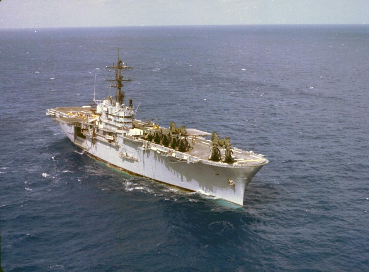 USS Iwo Jima underway in 1984[U.S. Naval Institute Archives]