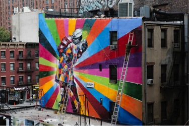 Street art in New York by Brazilian artist Eduardo Kobra.