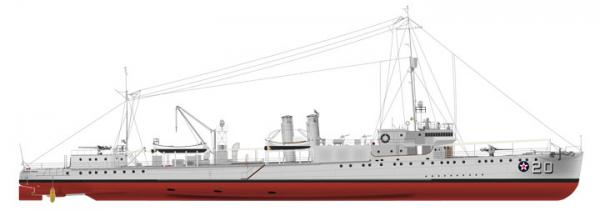 The William P. Preston (AVP-20) as she was first commissioned as a small seaplane tender in the summer of 1940, painted in No. 5 Navy Gray with her identification number in white with black shadowing. J.M. Caiella