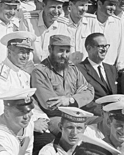 RIA Novosti - After a long post-missile-crisis hiatus, the Soviet navy, in the form of a task force, visited Cuba during the summer of 1969. The strengthening of naval and military ties between Cuba and the Soviet Union no doubt pleased Prime Minister Fidel Castro, pictured with some of the task force's officers and sailors.
