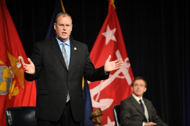 Under Secretary of the Navy Robert O. Work offers remarks during the fiscal year 2011 Department of the Navy Acquisition Excellence awards ceremony at the Pentagon in June. U.S. Navy Photo