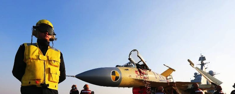 An undated photograph onboard the Chinese aircraft carrier Liaoning during a take-off and landing test. Xinhua News Agency Photo