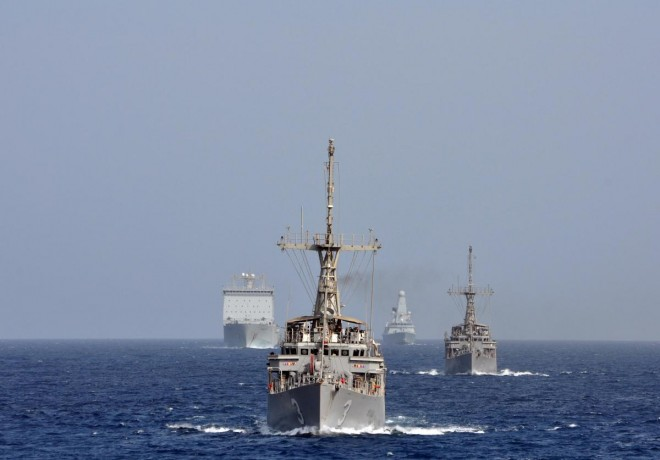 U.S. Avenger class minesweepers on manvuers with Royal Navy ships on Sept. 20. U.S. Navy Photo