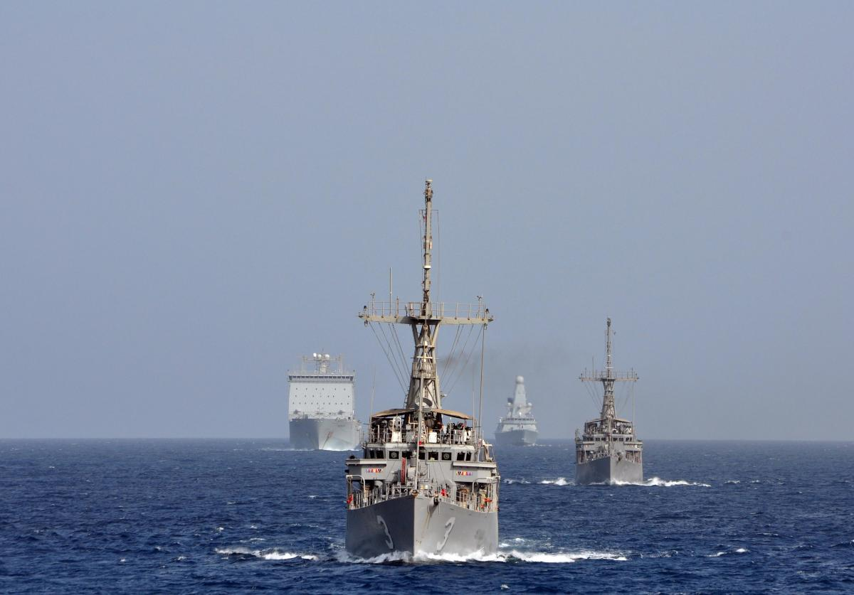 U.S. Avenger class minesweepers on manvuers with Royal Navy ships on Sept. 20, 2012. US Navy Photo