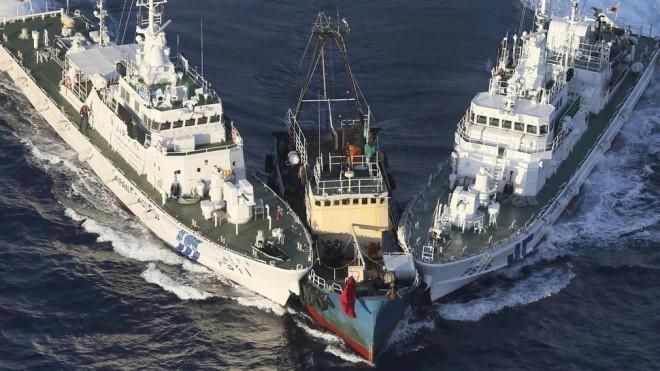 Japanese Coast Guard interdict a fishing vessel near the Senkaku Islands