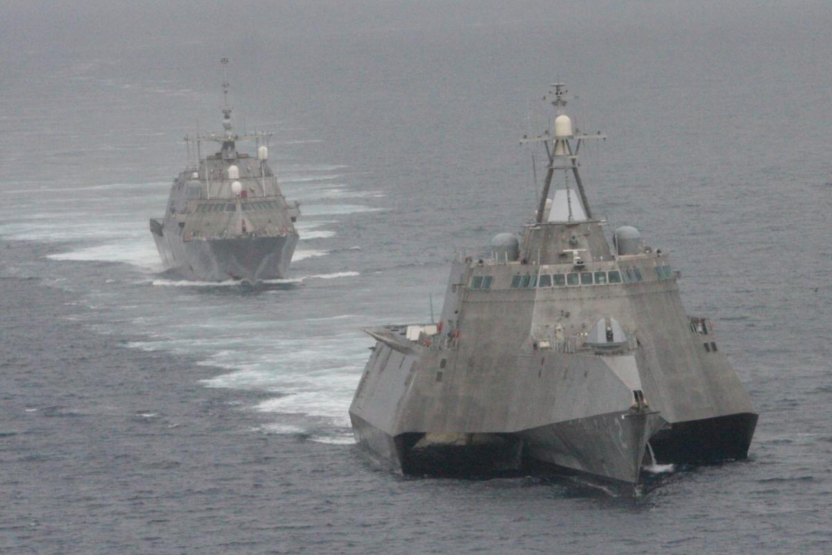 The first of class littoral combat ships USS Freedom (LCS 1), rear, and USS Independence (LCS 2) maneuver together during an exercise off the coast of Southern California on May, 2 2012. U.S. Navy Photo.