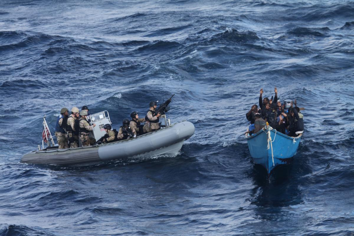 U.S. Navy Sailors from USS Pinckney (DDG 91) approaches a suspected pirate vessel in 2011 U.S. Navy photo