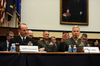 Commandant of the Marine Corps General James F. Amos speaks along side Chief of Naval Operations (CNO) Admiral Jonathan Greenert before the House Armed Services Committee in 2012. US Navy Photo