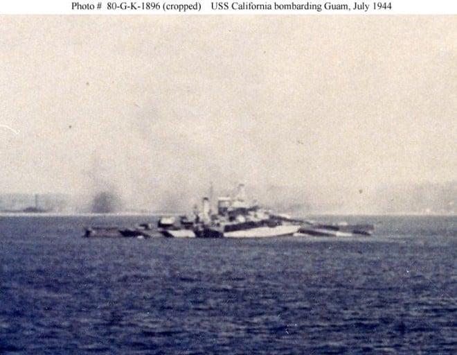 USS California bombarding Guam, July 1944