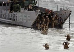 Marines assigned to the 1st Marine Expeditionary Force disembark. USMC Photo