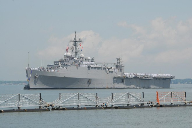 2011 U.S. Navy photo of USS Ponce returning to Naval Station Norfolk, Va. after a Middle East deployment