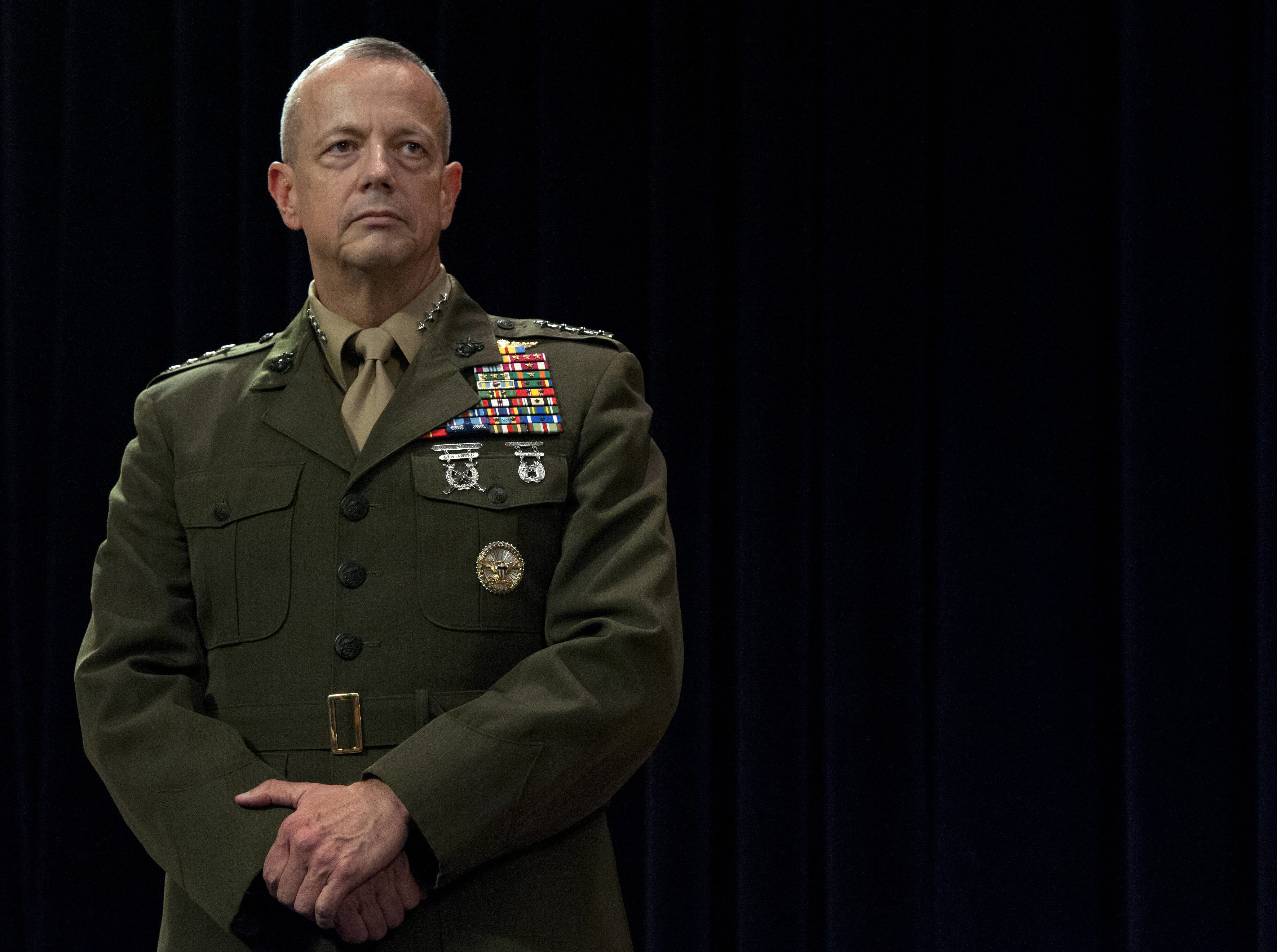 General John Allen stands as Secretary of Defense Leon E. Panetta makes the announcement that Allen has been nominated to become the new Supreme Allied Commander in Belgium in October. DoD Photo