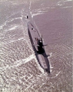 USS Abraham Lincoln (SSBN-602) on the surface