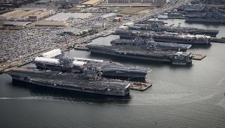 The aircraft carriers USS Dwight D. Eisenhower (CVN 69), USS George H.W. Bush (CVN 77), USS Enterprise (CVN 65), USS Harry S. Truman (CVN 75), and USS Abraham Lincoln (CVN 72) are in port at Naval Station Norfolk, Va. US Navy Photo