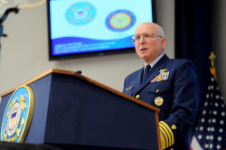 Coast Guard Commandant Adm. Robert Papp during the 2013 State of the Coast Guard address. US Coast Guard Photo
