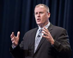 Undersecretary of the Navy Robert Work gives a keynote address during the 2012 Current Strategy Forum at the U.S. Naval War College. US Navy Photo