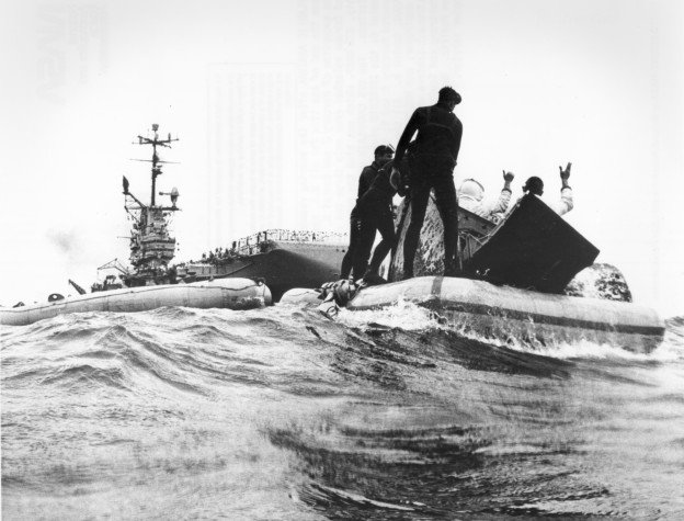 Gemini 9 astronauts get picked up by the USS Wasp, July 30, 1966. US Naval Institute Archives