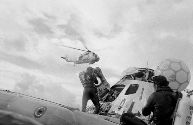 Apollo 13 is recovered after its harrowing mission, April 17, 1970. US Naval Institute Archives