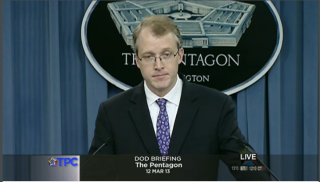 Department of Defense spokesman George Little briefing reporters on review to the Distinguished Warfare Medal. Pentagon Channel