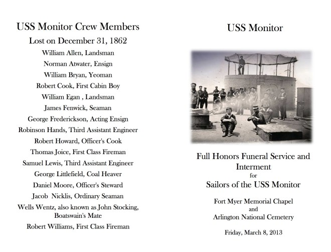 USS Monitor Chapel Service Program