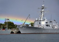 Arleigh-burke class guided missile destroyer USS Chung-Hoon (DDg 93) is docked at Joint Base Pearl Harbor-Hickam in May. The ship##Q##s deployment is delayed due to budget cuts. US Navy Photo