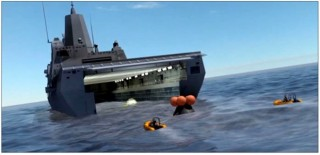 Artist conception of an Orion capsule being towed into the well deck of a San Antonio-class amphibious ship. NASA Photo