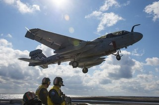An EA-6B Prowler approaches the flight deck USS Dwight D. Eisenhower (CVN-69) on Feb. 24, 2013. US Navy Photo