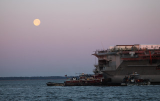 USS Abraham Lincoln towed to Newport News Shipbuilding on March, 28 2013. HII Photo