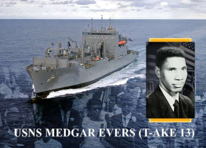 Navy announcement in 2009 of the naming of USNS Medgar Evers (T-AKE-13). US Navy Photo