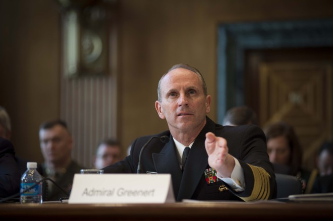 Adm. Jonathan Greenert testifies before the Senate on the Navy's budget on Wednesday. US Navy Photo