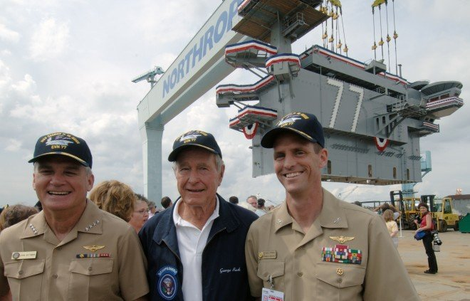 George H.W. Bush, during the construction of USS George H.W. Bush (CVN-77) in 2006. US Navy Photo