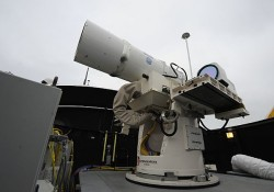 A July 30, 2012 picture of the Navy's Laser Weapon System (LaWS). US Navy Photo