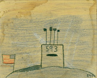 A crayon drawing by Bruce Harvey following the loss of the USS Thresher in 1963. Navy History and Heritage Command Photo