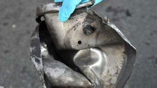 Remains of a pressure cooker bomb used in Monday's attack on the Boston Marathon. FBI Photo