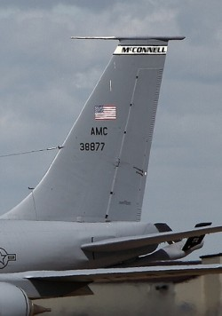 A photo of the tail of a KC-135 with the AMC 38877 tail number taken in 2012.