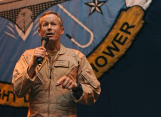 Rear Adm. Ted Branch, commander of Naval Air Force, Atlantic, speaks to Sailors aboard the Nimitz-class aircraft carrier USS Dwight D. Eisenhower (CVN-69) in 2012. US Navy Photo