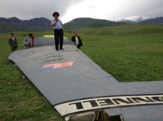 A picture from the crash site in Kyrgyzstan of a KC-135. kloop.kg Photo