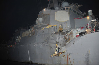 USS Porter shortly after its collision in August, 2012. US Navy Photo