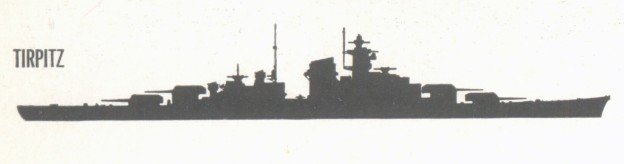 A Office of Naval Intelligence silhouette of German battleship Tirpitz from between 1941 and 1944.