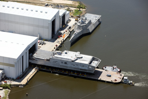 Third Joint High Speed Vessel Millinocket launches from Austal USA's mobile shipyard on Wednesday. Austal USA Photo