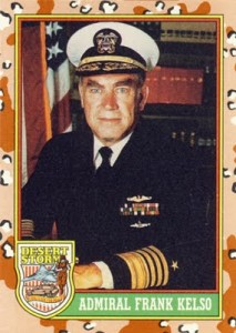 A 1991 Topps trading card of Adm. Frank Kelso during Operation Desert Storm.