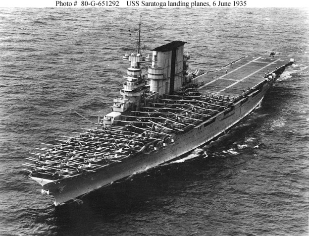 USS Saratoga (CV-3) landing planes in 1935. US Navy Photo