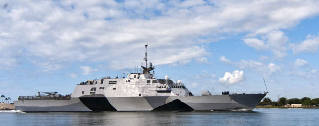 The littoral combat ship USS Freedom (LCS 1) arrives at Joint Base Pearl Harbor Hickam in March enroute to Singapore. US Navy Photo