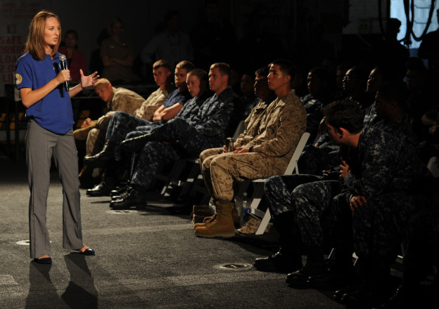 "A Central Michigan University educator speakers to Sailors and Marines during the ""No Zebras, No Excuses"" sexual assault prevention and response (SAPR) program aboard the amphibious assault ship USS Makin Island in 2012. US Navy Photo"