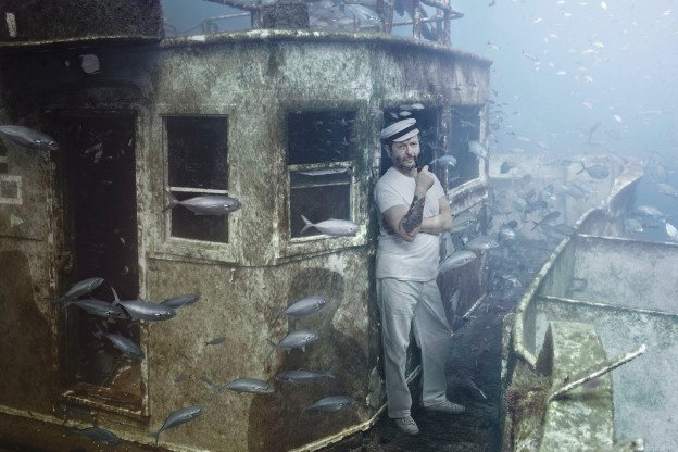 An image from The Sinking World of Andreas Franke, an art exhibition currently on display aboard the wreck of the Coast Guard Cutter Mohawk, almost 90 feet below the Atlantic Ocean. Image courtesy of Andreas Franke