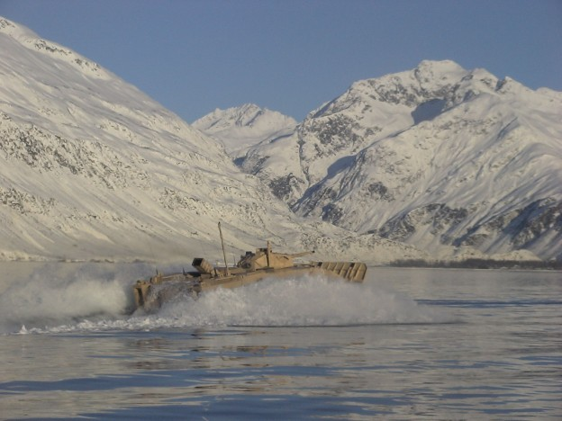 A Feb. 01, 2007 test of the Expeditionary Fighting Vehicle (EFV) in Alaska. The program was cancelled in 2011. US Marine Corps Photo