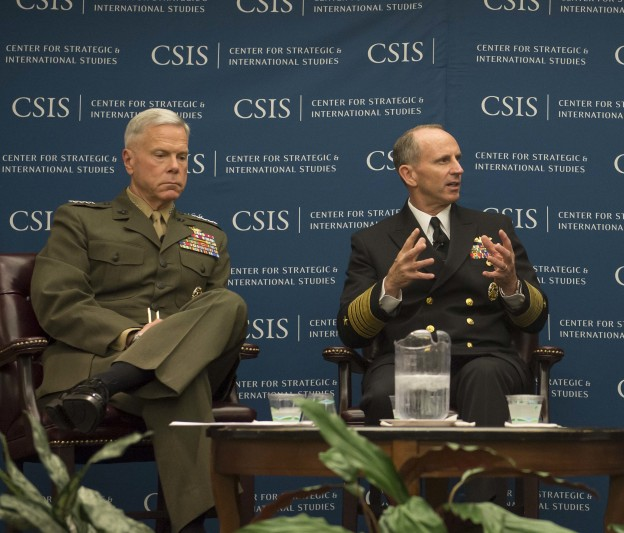 Chief of Naval Operations (CNO) Adm. Jonathan Greenert and Commandant of the Marine Corps Gen. James Amos speak at the Center for Strategic and International Studies (CSIS) as part of their national defense speakers series on July 11, 2013. US Navy Photo