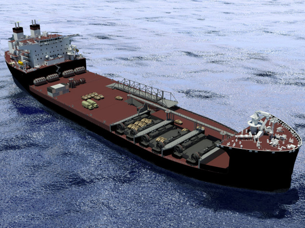 An artist rendering of the Military Sealift Command mobile landing platform ship USNS Montford Point (T-MLP 1). US Navy Photo