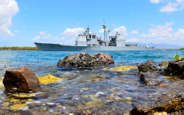 USS Port Royal (CG-73) departs Joint Base Pearl Harbor-Hickam in 2012. US Navy Photo